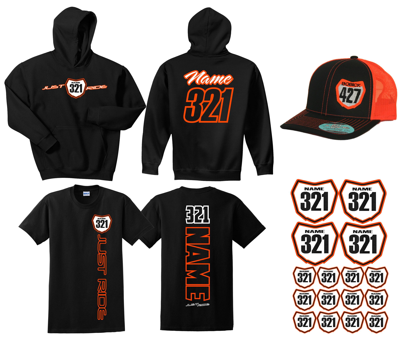2afbf41eec6 Motocross Hoodie Sweat Shirt Hat   Decals Racer Pack Number Plate Just Ride  MX Moto Dirt Bike Racing Orange KTM