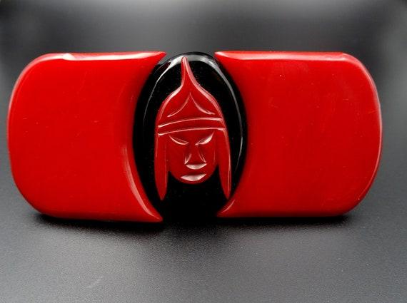 Bakelite Red & Black Belt Buckle - Asian Theme War