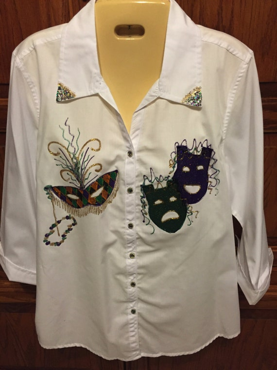 Mardi-gras Woman Shirt,PLUS SIZE 3//4 Sleeve With Roll Up Cuff Hand Made IN USA
