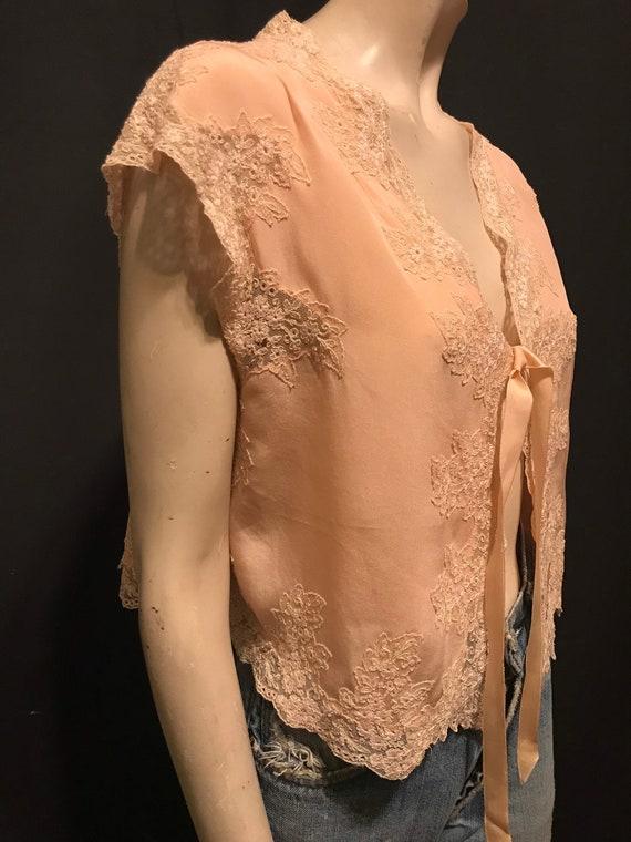 Vintage 1930's Pink Lace Trimmed Lingerie Bed Jack