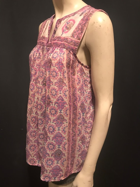Vintage 70's Star of India Pink Paisley Floral Blo