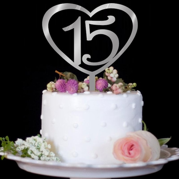 Wedding Anniversary 15 Years Happy Birthday Cake Topper Love Etsy