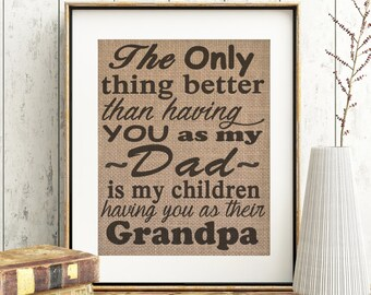 Fathers Day Gift For Father Dad Birthday Present Grandpa Sign