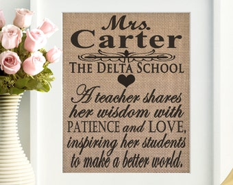 Teacher gift, Custom teacher gift, Teacher name sign, Teacher Appreciation, Gift for teacher, Teacher wall hanging, Teacher decor, Teacher