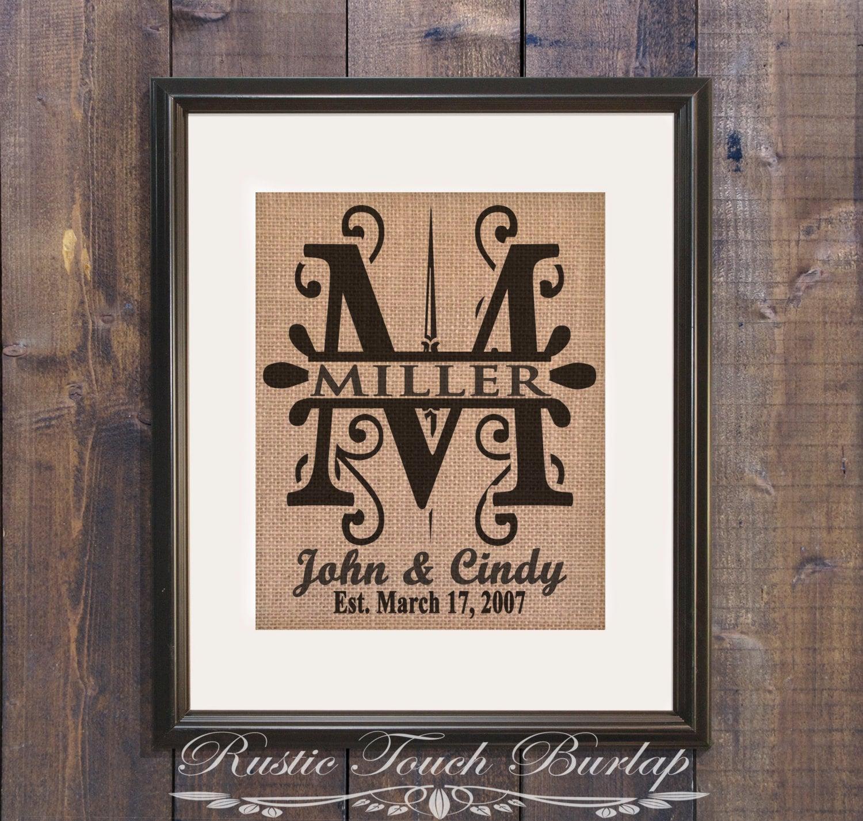 Personalized Wedding Gift Affordable Rustic Wedding Monogram Etsy