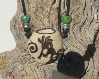 """Personal Oil Diffuser, """"Native Legend"""" - Aromatherapy necklace, Stoneware necklace, Essential Oil Diffuser, Earthy Boho  - #11-12"""