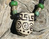 "Porcelain Oil Diffuser - ""Native"" - Essential Oil diffuser - Southwest design - Boho Chic - Porcelain pendant - #j26"