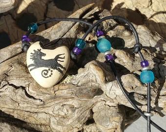 "Aroma Therapy Necklace - ""The Rocks Speak""  -  Essential Oil Diffuser - Earthy Boho -  Hummingbird Pendant - Porcelain pendant -   #1-8"