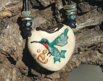 "Aroma Therapy Necklace - ""Rain Bird""  -  Essential Oil Diffuser, Earthy Boho, Hummingbird Pendant, Porcelain pendant,  #11-10"