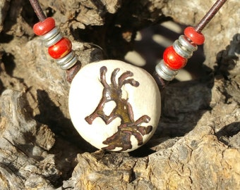 """Aroma Therapy Necklace -""""Kokopelli """" -  Essential Oil Diffuser, Boho Earthy Necklace, personal diffuser, Porcelain Pendant, #1-3"""