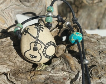 """Personal Oil Diffuser, """"Dancing Strings"""" - Aromatherapy necklace, Stoneware necklace, Essential Oil Diffuser, Earthy Boho  - #12-9"""