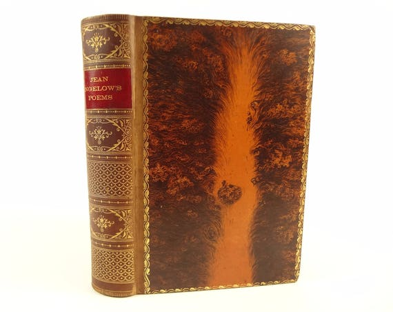 19th century tree calf binding, The Poetical Works of Jean Ingelow