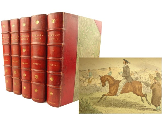R.S. Surtees. Plain or Ringlets?, Hawbuck Grange, & Handley Cross. Sporting tales. Illustrated, pochoir.