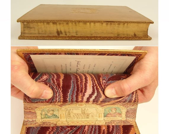 1895. Fore-edge painting of Westminster, King William and St. Anselm. St. Anselm biography. Prize Binding, signed by H. Sotheran and Company