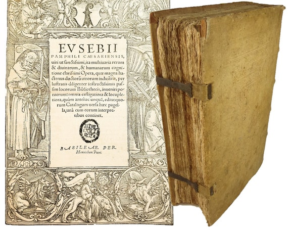 1549 Pamphili Caesariensis, Eusebii (Eusebius). Hans Holbein the Younger title page. Wonderful binding.