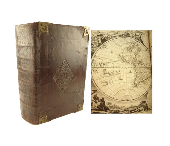 1710 (large, folio) Biblia (Bible; Dutch),dat is De Gantsche H Scriptures. Maps - Baja CA as an island.