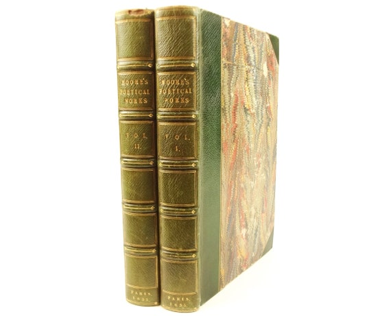1835 Poetical Works of Thomas Moore. 2 vol.. Fine binding.  Irish Melodies and Lallah Rooke included.