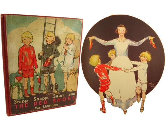 1932 Snipp, Snapp, Snurr and The Red Shoes, Maj Lindman. Illustrated wonderfully