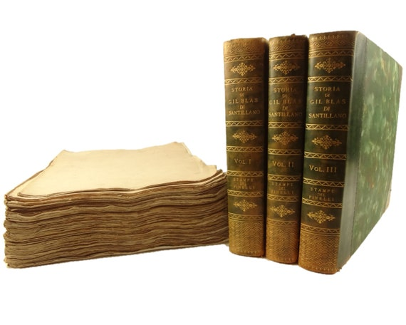 1838 Gil Blas di Santillano, Alain-Rene Lesage. 300 engravings by Pinelli. Rare.