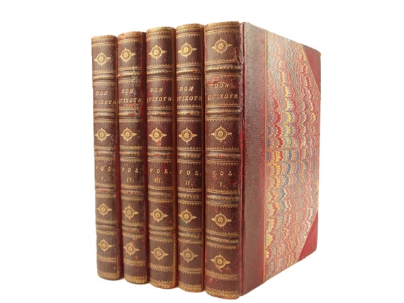 1822 Don Quixote, new edition with Copius Notes and Life of Author. Complete in five volumes. Miguel de Cervantes.