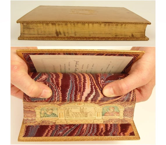 1870. Fore-edge painting of Westminster, King William and St. Anselm. St. Anselm biography. Prize Binding, signed by H. Sotheran and Company