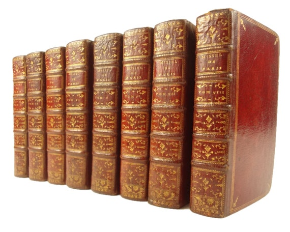 1764 Missel de Paris, complete in eight volumes. Beautiful red morocco bindings.