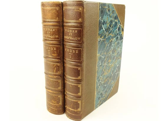 1883 Prose Works of Henry Wadsworth Longfellow. Fine binding. Riverside Press