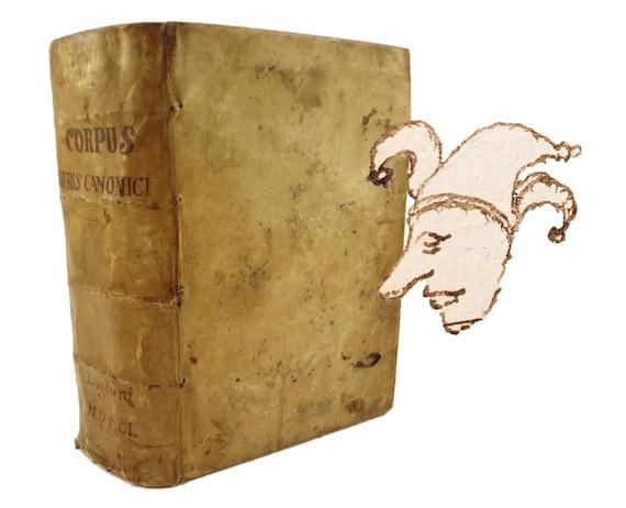 1591 Corpus Juris Canonici (Body of Canon Law). Gratian, Gregory IX, Bonifacii VIII, etc.. Jester marginalia.