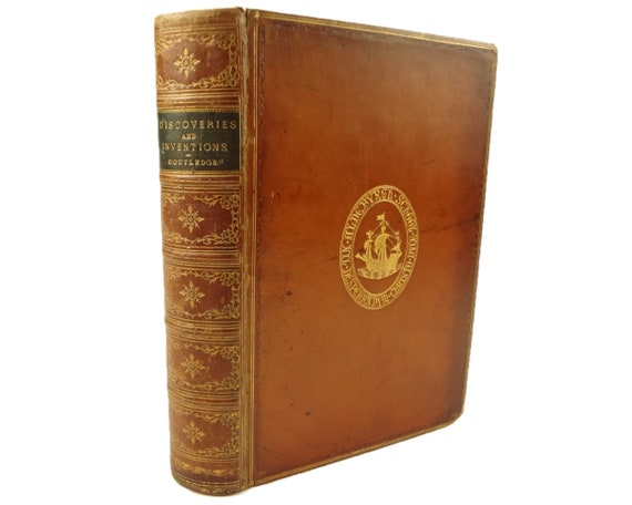 Prize binding. 1879 Discoveries and Inventions of the 19th Century, Routledge.