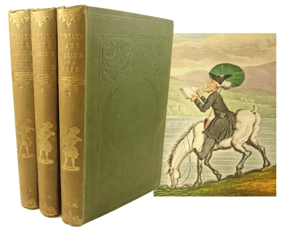 1855 The Tour of Doctor Syntax, complete in three volumes. 80 color-engravings by Thomas Rowlandson.
