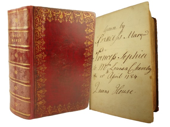 Royal Association. 1772 Holy Bible given by Princesses Mary and Sophia to their Sub-Governess on Anniversary of Prince Octavius' Death