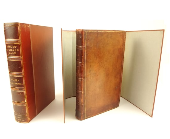 1762 1st edition Life of Richard (Beau) Nash of Bath, by Oliver Goldsmith. Slip case. Newberry.