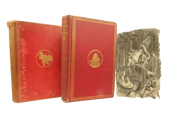 1877 Alice's Adventures (Alice) in Wonderland, and 1898 Through the Looking Glass by Lewis Carroll. Illustrated by John Tenniel.