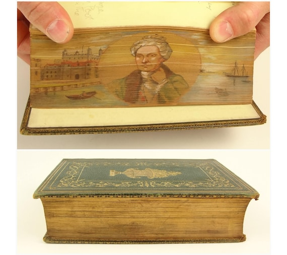 1857. Fore-edge painting, portrait of William Cowper in front of The Pond and London Tower. William Cowper, The Poetical Works.