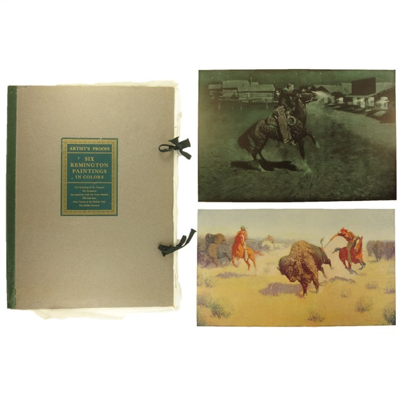 "1908 Frederic Remington,Artist's Proofs: Six Remington Paintings in Color. Large, measuring approx. 24""x17.5"""