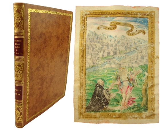 1598 Illuminated Manuscript with full-page miniature. Produced for Brescia use. Orationes, Antiphones, Glossary, etc..