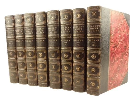 1854 History of the Decline and Fall of the Roman Empire by Edward Gibbon. Complete in 8 volumes, with fold-out maps.