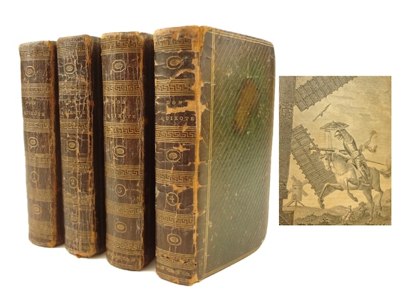 1814 Don Quixote translated by Tobias Smollett. Complete in four volumes. Early New York edition.