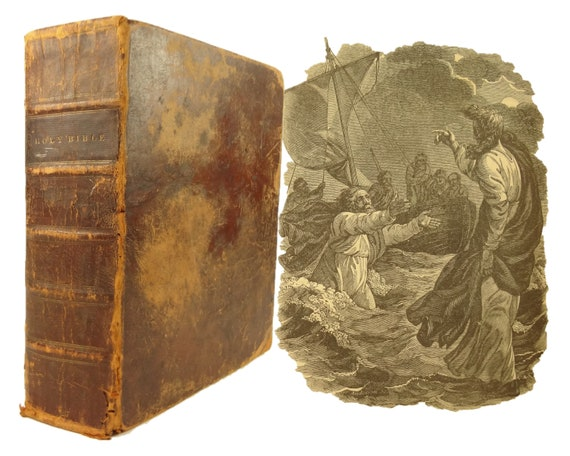 1818 Holy Bible; stereotype quarto edition by Collins. With tables, concordance, etc.