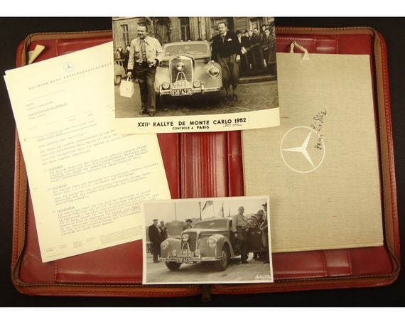 Mercedes contract, Rudolf Caracciola, 1952 Monte Carlo Rally,with two photos from Caracciola private archive. Also 1951 Mercedes, Hans Liska
