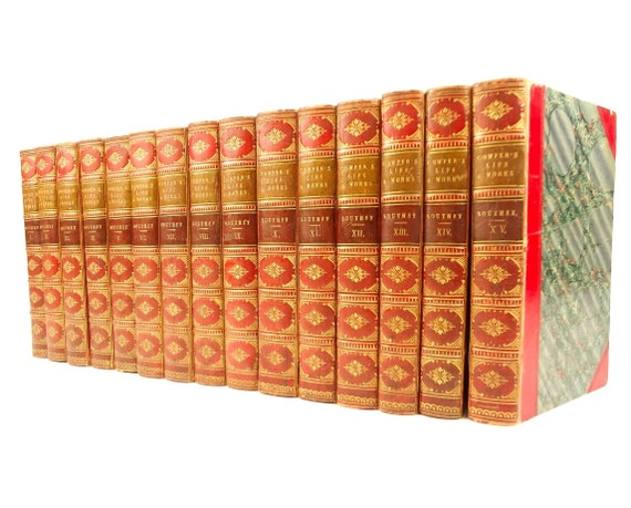 1835 Life and Works, William Cowper by Robert Southey. Complete in 15 vols. Baldwin & Cradock