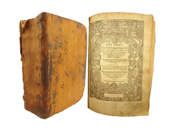 1597 Geneva Bible (Breeches Bible), Deputies of Christoher Barker. Bound with the Book of Common Prayer, Psalms, and Concordances.