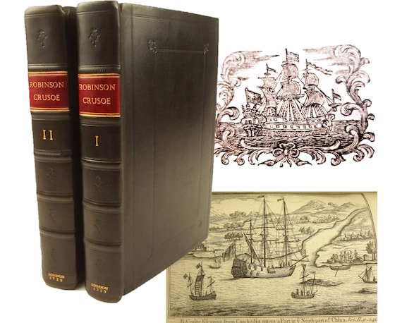 1719 Robinson Crusoe and 1722 Farther Adventures of, by Daniel Defoe.Printed by Taylor. Both 3rd editions, the Crusoe very close to the 1st.