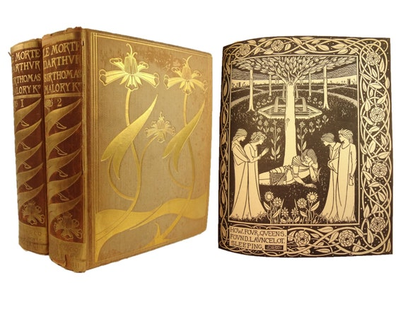 1893 Le Morte d'Arthur (King Arthur) by Sir Thomas Malory. Aubrey Beardsley illustrator. Complete in two volumes. Art Nouveau.Dent publisher