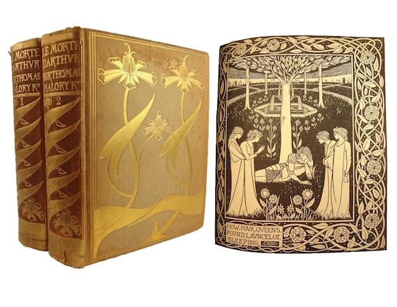 1893 Le Morte d'Arthur (King Arthur) by Sir Thomas Malory. Aubrey Beardsley illustrator. Complete in two volumes. Art Nouveau.Dent publisher
