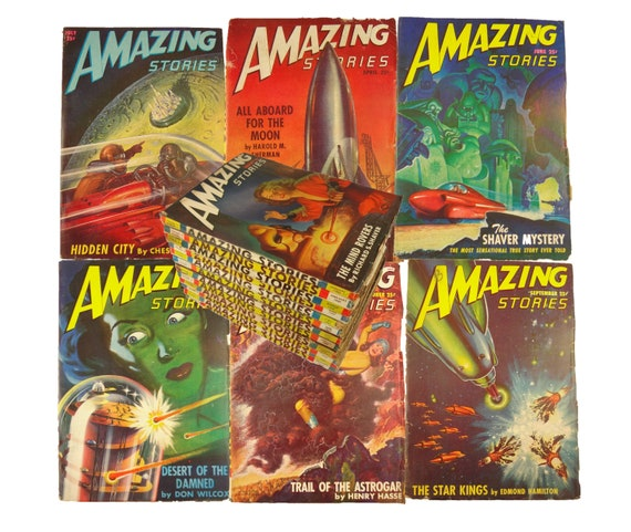 1947 complete Amazing Stories. 12 issues, January through December. Science fiction classics. Amazing cover art!