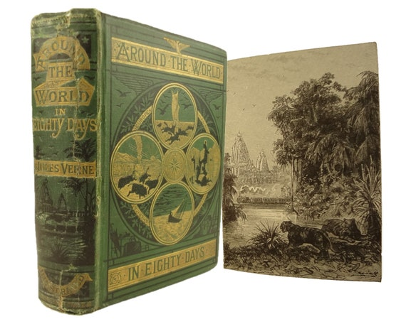 1875 Around the World in Eighty Days by Jules Verne. Sampson Low, London. Fifth Edition, still in first English edition's format.