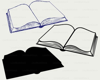 open book svg book clipart book svg open book silhouette book etsy