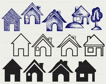House svg/house clipart/house svg/house silhouette/house cricut cut files/house clip art/house digital download designs/svg