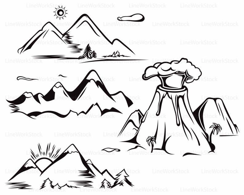 Paysage Silhouettecricutcoupe Clip Svgmontagnes Art Et Fichiers Numérique Téléchargersvgdessins Montagne Clipartmontagnes FKclJ1